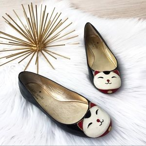 Kate Spade / Patent Leather Cat Face Flats 6 M